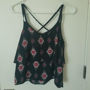 Black Polyester Tank with Native Print